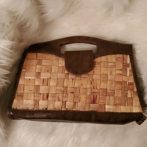 The Limited tan and brown retro clutch bag